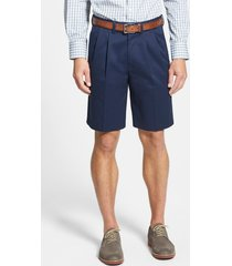 men's big & tall nordstrom men's shop smartcare(tm) pleated shorts, size 46 - blue