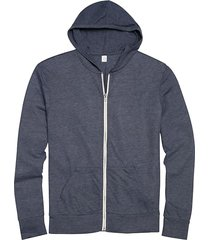 alternative apparel men's navy modern fit full zip eco jersey hoodie - size: 3x