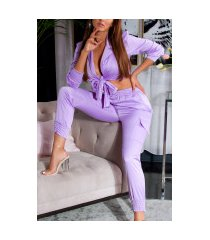 trendy set satijn look broek & crop top lilac