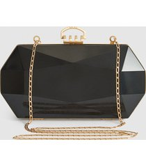 reiss minaudiere - perspex box clutch in black, womens