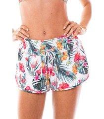 saída de praia shorts com ilhós duna casual flor tropical