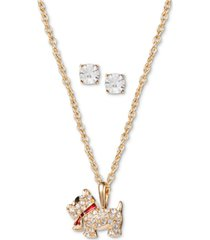 charter club gold-tone crystal dog pendant necklace & stud earrings set, created for macy's