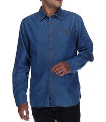 camisa hombre foundation denim azul cat