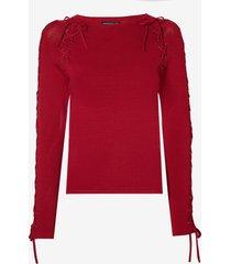 blusa dudalina manga longa tricot amarrações feminina (marrom medio, gg)