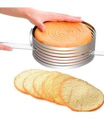 conjunto forma anel aro cortador fatiador tamanho regulável corte 7 camadas bolo confeiteiro 24 - 30 cm thata esportes