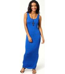 petite zanderige maxi jurk met lage ronde hals, cobalt