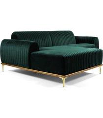 sofã¡ 3 lugares com chaise base de madeira euro 230 cm veludo verde  gran belo - verde - dafiti