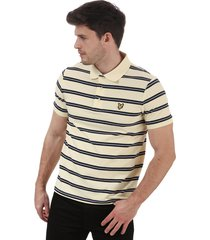mens wide double stripe polo shirt