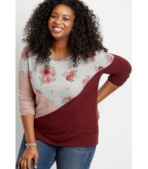 maurices plus size womens floral colorblock straight hem pullover
