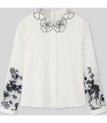 camicetta casual da donna a maniche lunghe con colletto con risvolto stampa calico