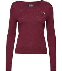 icon crewneck sweater stickad tröja röd abercrombie & fitch