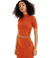 bar iii buttoned rib-knit top, created for macy's