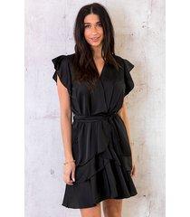 zijden ruches jurk zwart