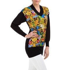 maglione maglia donna scollo v tropical baroque