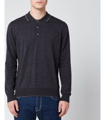 canali men's long sleeve wool tip button polo shirt - navy - it 50/uk 40