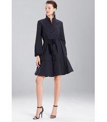 cotton poplin mandarin dress, women's, black, size 0, josie natori
