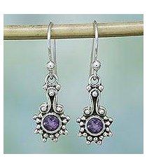 amethyst dangle earrings, 'lilac dots' (india)