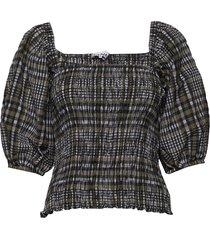 seersucker check blouses short-sleeved ganni