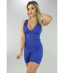 macaquinho bojo feminino serra e mar modas vick azul royal - azul - feminino - poliã©ster - dafiti