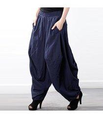 zanzea 2018 manera de las mujeres del resorte elástico sólido de alta cintura gota-entrepierna pantalones retro linterna pantalón holgado largo harem armada -azul