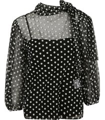 red valentino floral motif blouse