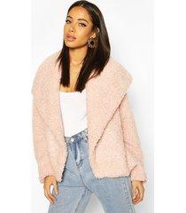 waterfall collar teddy coat, rose