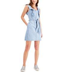 tinseltown juniors' ruffled denim mini dress