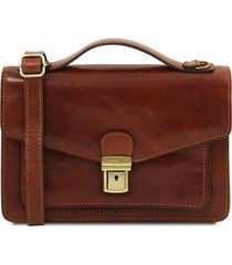 tuscany leather tl141443 eric - borsello in pelle a tracolla marrone