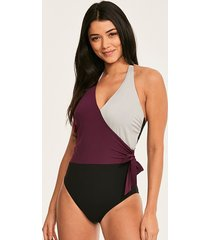 colourblock underwire wrap tie shaping one-piece swimsuit d-gg