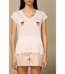 elisabetta franchi t-shirt elisabetta franchi v-neck t-shirt with logo and fringes