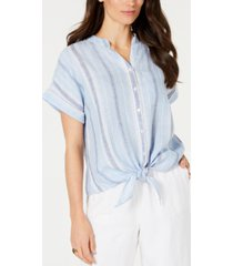 charter club petite linen striped tie top, created for macy's