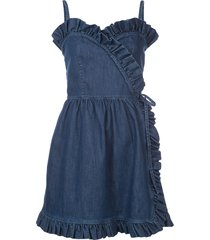 stella mccartney denim sheer panel mini dress - blue