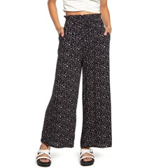 bp. paperbag waist pants, size x-large in black- pink terese ditsy at nordstrom