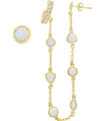14k gold vermeil & created opal 2-piece ear cuff & stud earring set
