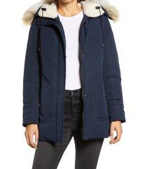 women's sam edelman short parka with faux fur trim, size xx-large - blue