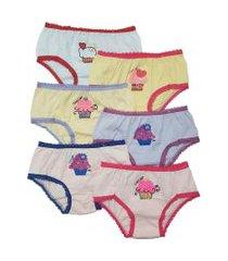 kit 6pçs calcinhas ellie juvenil estampa cupcake rosa/amarela
