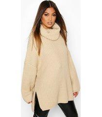 chunky oversized boyfriend sweater, stone