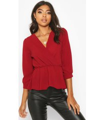 tall wrap peplum blouse, berry