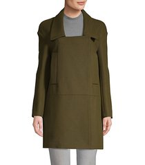 collared cotton & wool coat