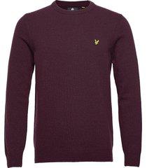 crew neck lambswool blend jumper stickad tröja m. rund krage lila lyle & scott