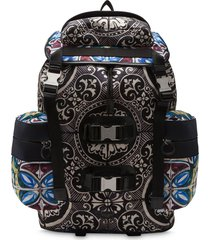 dolce & gabbana stained-glass print backpack - black