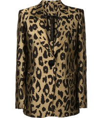 petar petrov justin tailored leopard print jacket - gold