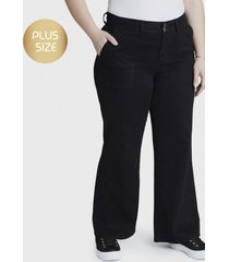 jeans palazzo 2 botones negro curvi