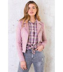 biker jacket suede dust pink