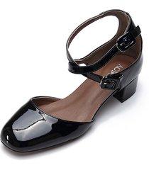 zapatos de tacón de cuero negros