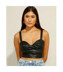 top cropped corset alça média decote coração preto