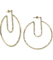 argento vivo gold-tone hammered cut-out hoop earrings in gold-plated sterling silver