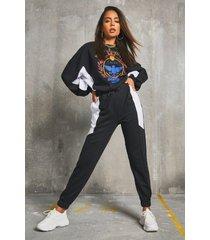 'nashville' colour block batwing sweater & joggers, black
