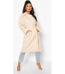 petite wool look belted wrap coat, ecru