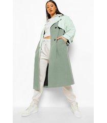 contrasterende trench coat met ceintuur, sage